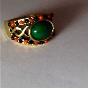 Jewelry - Gold green / orange Ring with stones Size:8